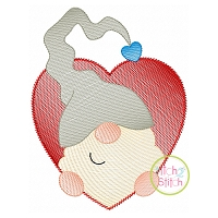 Gnome in Heart Boy Sketch Embroidery Design