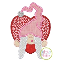 Gnome in Heart Girl Applique Design