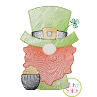 Gnome Leprechaun Sketch Embroidery Design
