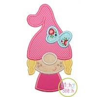 Gnome Little Girl Applique Design