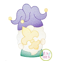 Gnome Mardi Gras Sketch Embroidery Design