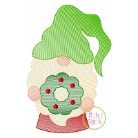 Gnome with Wreath Sketch Embroidery