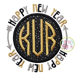 Happy New Year Circle Frame Applique