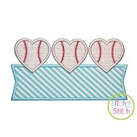 Heart Baseball Trio Banner Applique Design