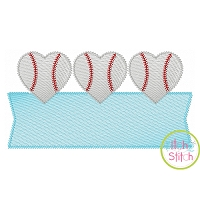 Heart Baseball Trio Banner Sketch Embroidery Design
