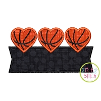 Heart Basketball Trio Banner Applique Design