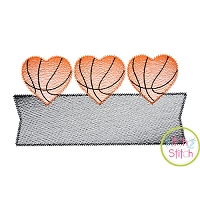 Heart Basketball Trio Banner Sketch Embroidery Design