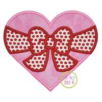 Heart Big Bow Applique