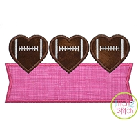 Heart Football Trio Banner Applique Design