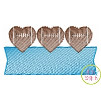 Heart Football Trio Banner Sketch Embroidery Design