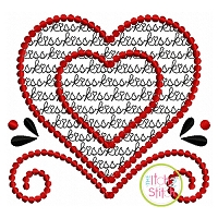 Heart Kiss Motif Embroidery Design