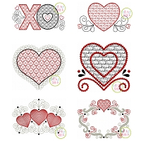 Heart Motif and Sketch Embroidery Design Set