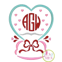 Heart Snow Globe Embroidery Design
