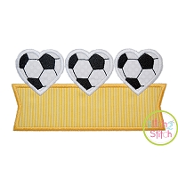 Heart Soccer Ball Trio Banner Applique Design