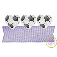 Heart Soccer Ball Trio Banner Sketch Embroidery Design