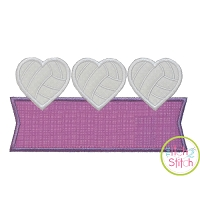 Heart Volleyball Trio Banner Applique Design