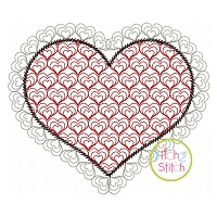 Heart with Triple Heart Motif Embroidery Design