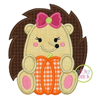 Hedgehog Pumpkin Girl Applique