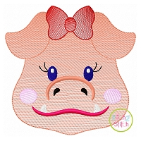 Hog Face Girl Sketch Embroidery