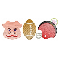 Hog Football Trio Sketch Embroidery