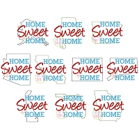 Home Sweet Home 50 States Embroidery Design Set