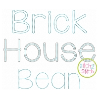Brick House Two Color Bean Stitch Embroidery Font