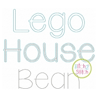 Lego House Two Color Bean Stitch Embroidery Font
