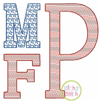 Stacked Serif Patriotic MOTIF Embroidery Monogram Font