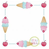 Ice Cream Cone Square Frame Sketch Embroidery