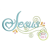 Jesus Swirl Embroidery Design