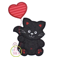 Kitty with Heart Balloon Boy Applique Design