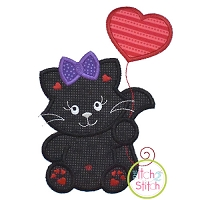 Kitty with Heart Balloon Girl Applique Design
