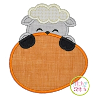 Lamb Egg Peeker Boy Applique