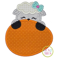 Lamb Egg Peeker Girl Applique