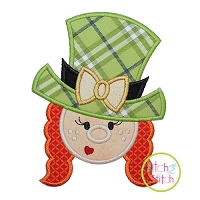Leprechaun Face Girl Applique Design