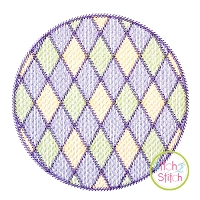 Mardi Gras Diamonds Circle Frame Sketch Embroidery Design
