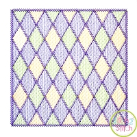 Mardi Gras Diamonds Square Frame Sketch Embroidery Design