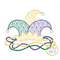 Mardi Gras Hat Beads Motif Embroidery Design