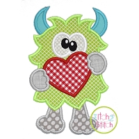 Monster Holding Heart Applique Design