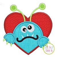 Monster in Heart Applique Design