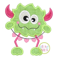 Monster with Heart Chain Applique Design