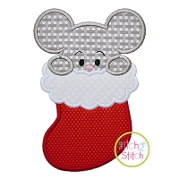 Mouse in Stocking Boy Applique