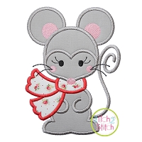 Mouse with Scarf Girl Applique