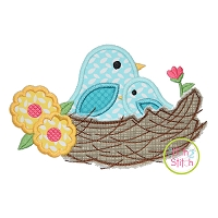 Nest with Birds Applique Design