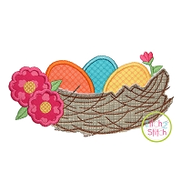 Nest with Eggs Applique Design