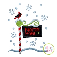 North Pole with Cardinal Applique