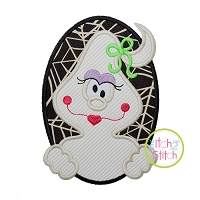 Oval Ghost Girl Applique