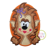 Oval Werewolf Girl Applique