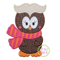 Owl with Scarf Girl Applique