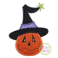 Pumpkin in Witch Hat Applique